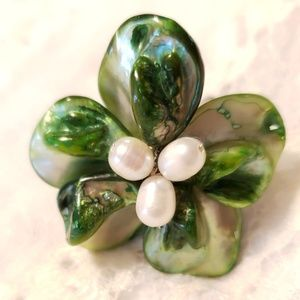 Mother of Pearl, Freshwater Pearl Flower Ring